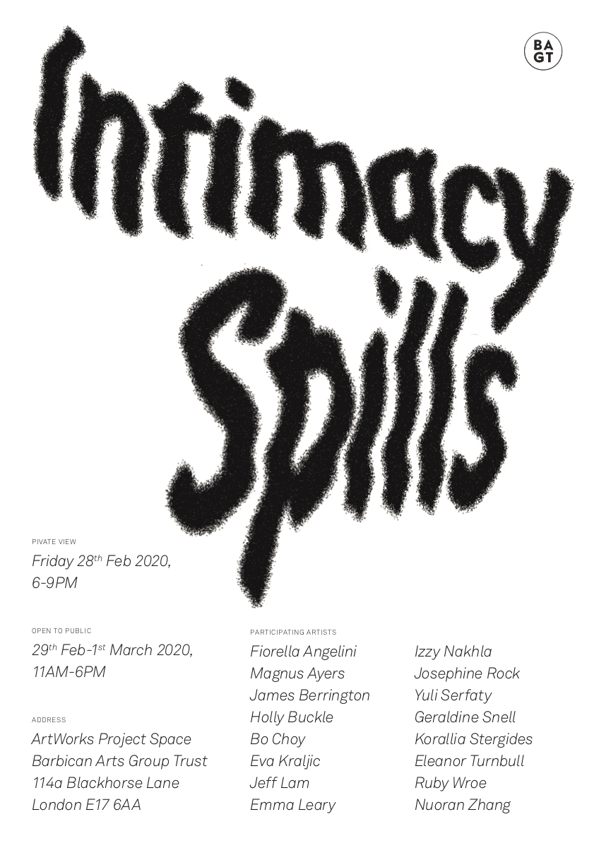 Intimacy Spills - PV 28th February 6 pm - 9pm - https://mailchi.mp/af85b45b6a77/httpswwwbarbicanartsgrouptrustcoukartworks-project-spacehtml-3182845…pic.twitter.com/NF2ow73Qx1