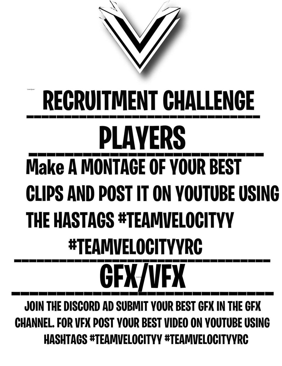 Team velocityy is doing a 100 followers/subscribers recruitment challenge DMs are currently open for anyone that is looking for a clan #Fortnite #Gaming #FortniteClan #Clan #LookingForAclan #Gfx #GFX #FreeGFX #LookingForGFX #VFX #LookingForVFX #FreeGFX #CompClanpic.twitter.com/N4OlZvH5Qx