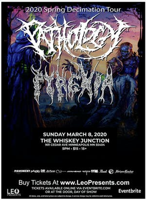 *Whiskey Junction* Pathology w/Pyrexia  Looking for a balance of unimaginable savagery and unique songwriting? Look no further… Sun, Mar 8, 2020 // 5 PM Ages 15+ // $15 @pathologyband @PyrexiaOfficialpic.twitter.com/eXS087HhGi