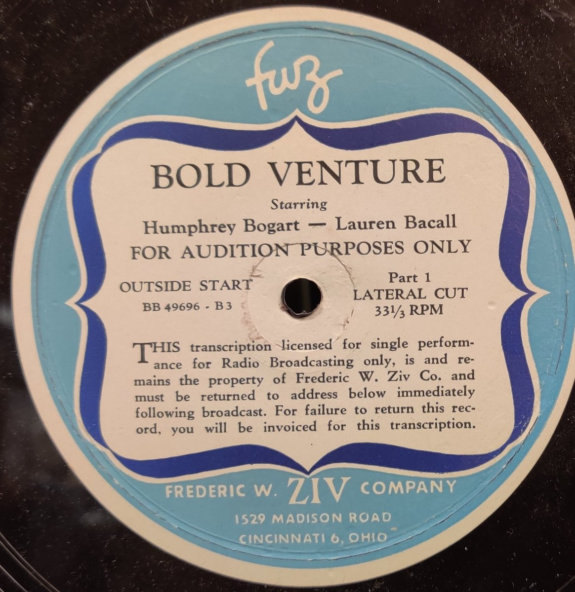 Bold Venture, Audition#2, The Kuan Yin Statue, 1951.  A beautiful Chinese girl is killed to get an idol she has smuggled into Havanna.  Starring Humphrey Bogart and Lauren Bacall.   King Moses portrayed by Jester Hairston.  #OldTimeRadio #OTR #preservationpic.twitter.com/mNtfIRFk2l