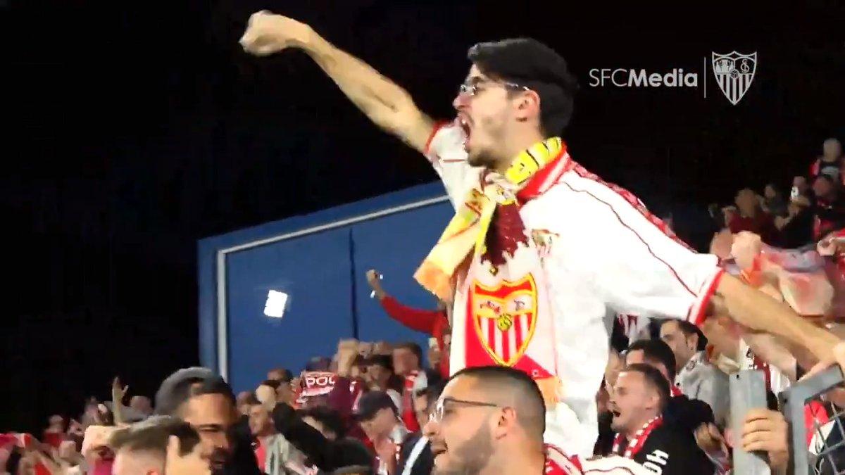 📺 Así rugieron los sevillistas desplazados a Getafe con los goles del #GetafeSevillaFC. ¡Sois enormes! 👏🏻 ⚪️🔴  #WeareSevilla