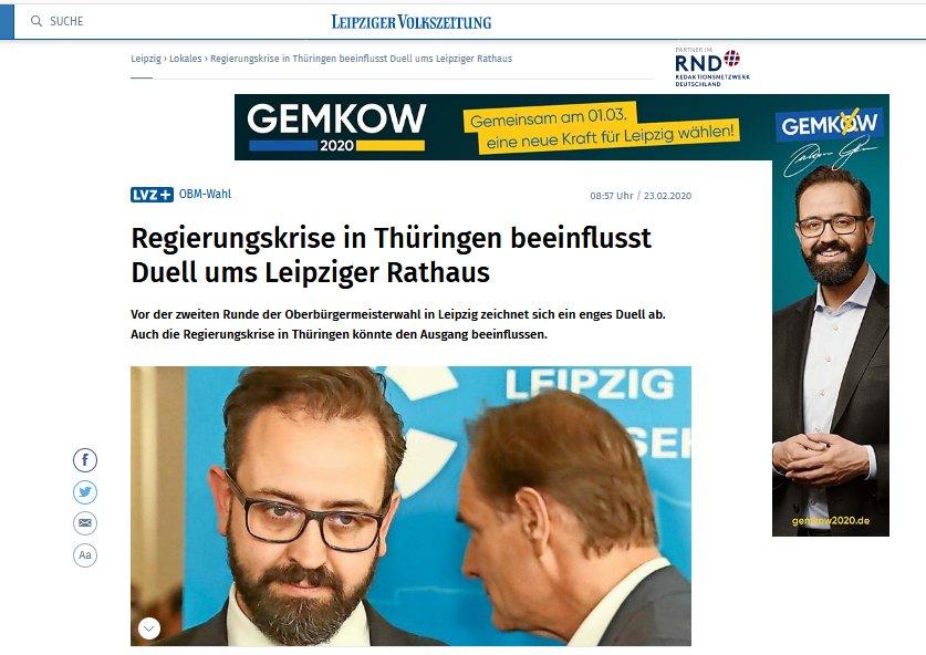 Irritierend diese #Gemkow Werbung in der @LVZ überall. Zum Glück verbietet journalistische Ethik, sich von Anzeigenkunden vereinnahmen zu lassen. #obmle20 pic.twitter.com/d2Nk70Ntcr