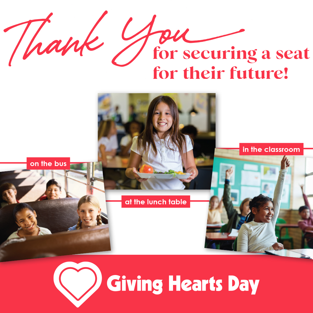 Thank you for helping us secure a seat or their future on #GivingHeartsDay!!! #secureaseat #GFSchools #ILoveGF #GFisCooler #GFisKinder ♥️