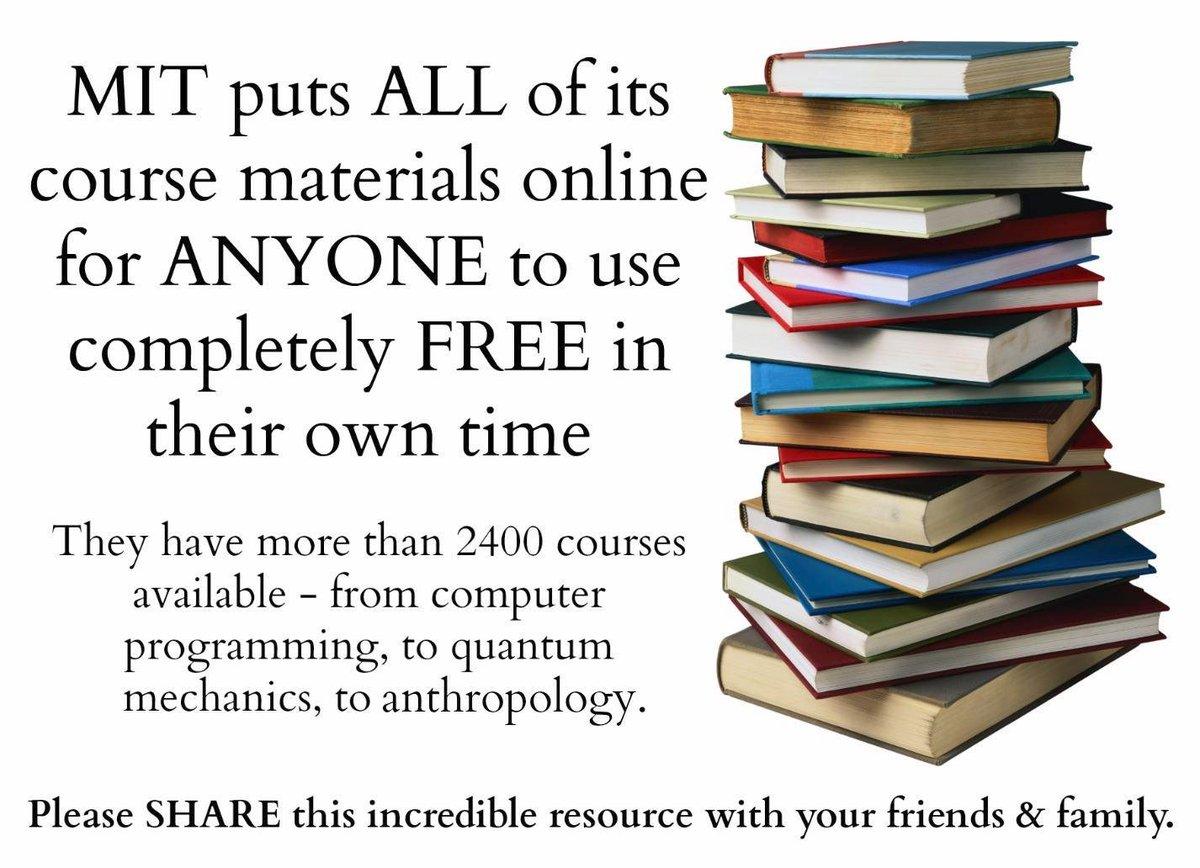 Please share.https://ocw.mit.edu/index.htm