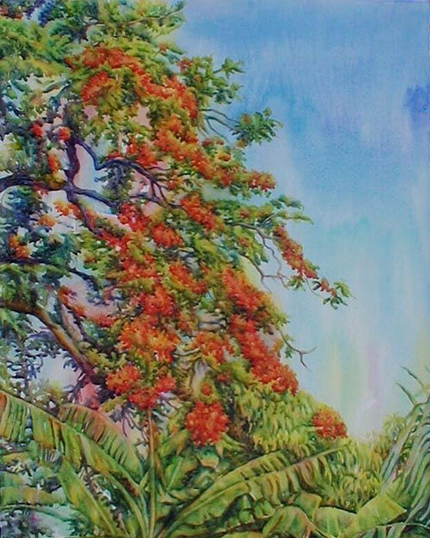 """This painting of a poinciana tree branch makes me think of a sunny, lazy Sunday afternoon in Kingston. Wish I was there now! """"Flow Over"""" - watercolor on paper. ~Juliet~ #julietthorburn #watercolor #watercolour #painting #art #artist #artistoninstagram #womenartist #fineart #…pic.twitter.com/oTVShV6dFx"""