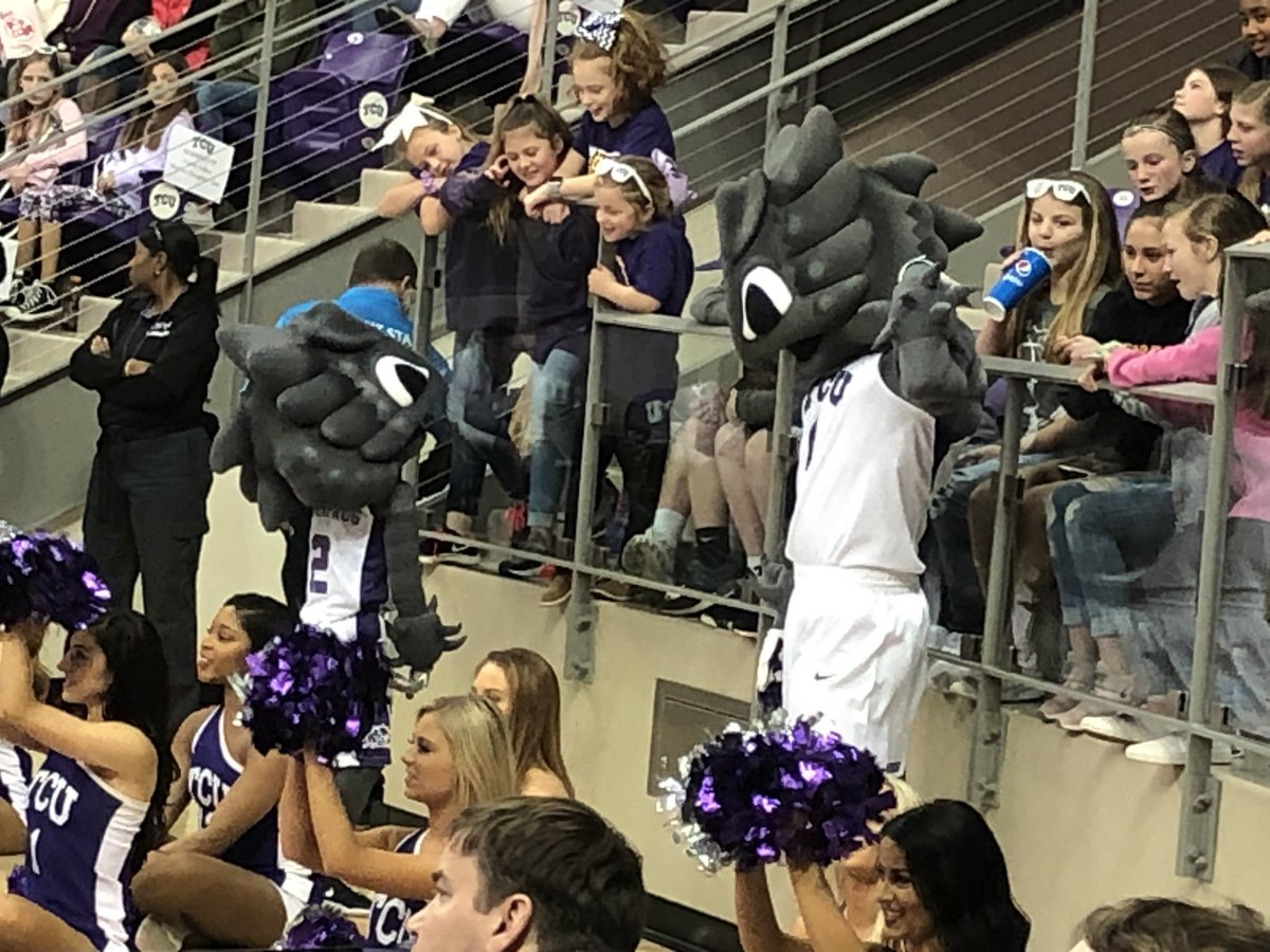 Celebrity sightings at today's @TCUWbasketball game include @SuperFrog1873 and his Mini-Me!