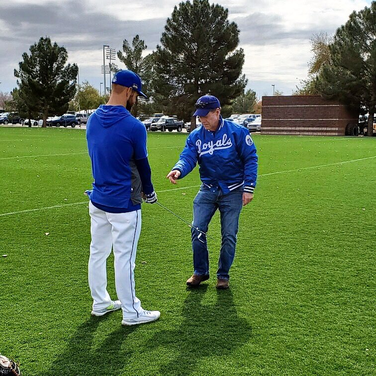 Helping Alex Gordon with his golf swing at spring training today! @kcroyals #RoyalsST #AlwaysRoyal