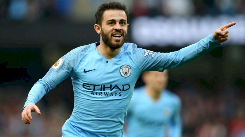 Bernardo Silva, que está en la agenda del Barcelona, celebra un gol con el Manchester City.
