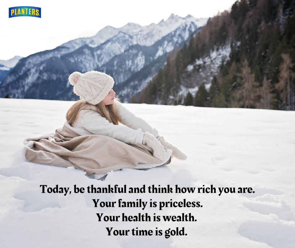 Today, be thankful and think of how rich you are. Your family is priceless. Your health is wealth. Your time is gold. Happy Sunday everyone!  #SundayInspiration #SundayRelaxation #Grateful #Lifequotes #Sunday #PlantersCanadapic.twitter.com/xuMbj3BRbx