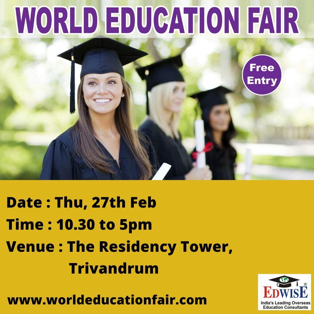 http://www.worldeducationfair.com  #studyabroad #abroadstudies #ug #pg #overseas #education #benefits #abroad #courses #universities #colleges #consultants #admissions #counseling #trivandrum #applynow #travel #cities #world #eventsinindia #edwise #edwiseinternational #futurethroughedwisepic.twitter.com/2ZjaqWt0V0