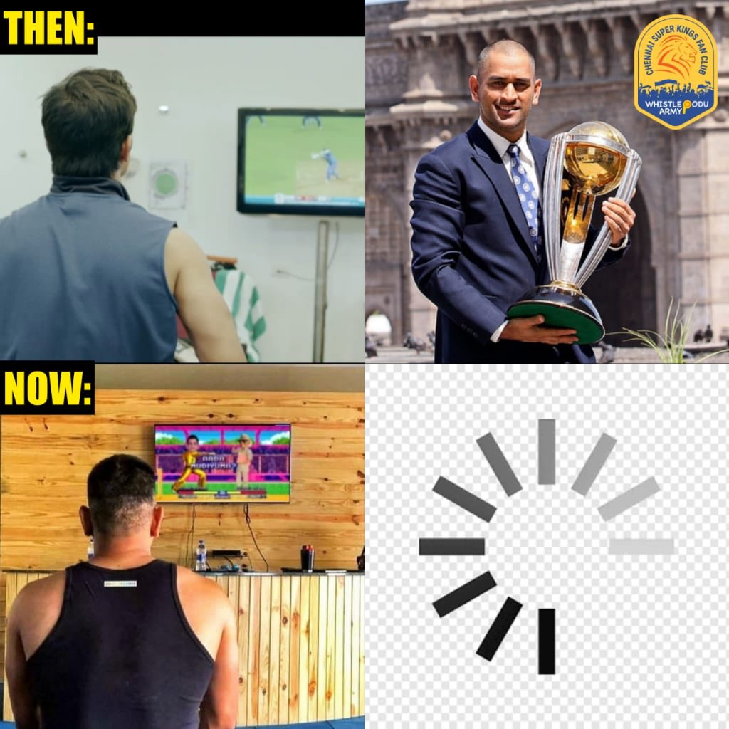 Then : 2011 World Cup  Now : Loading    #WhistlePodu #Dhoni #IPL2020<br>http://pic.twitter.com/b0EjcF7E96