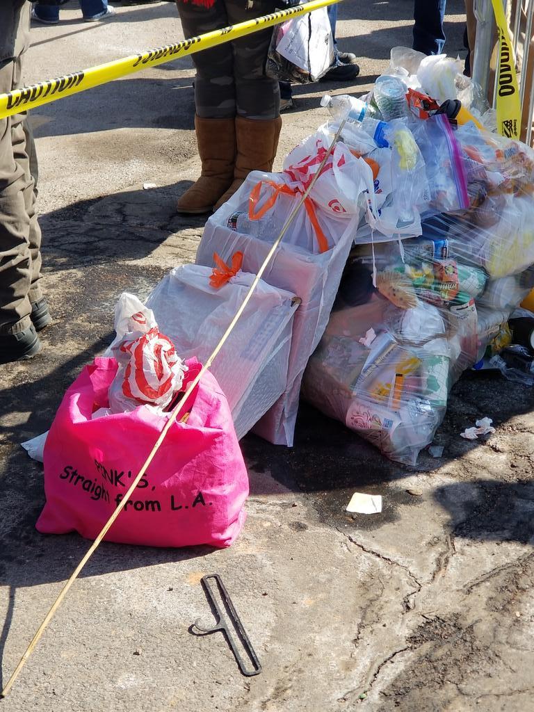 CO Springs rally, @pinkshotdogs bag used as trash bag. Seems fitting for L.A., California...wouldn't you agree? #KAG2020 #MAGA #WWG1GWA #POTUS #Trump2020Landslide #California #hotdogs #trash #QAnon #irony @POTUS @SpeakerPelosi @RepAdamSchiff