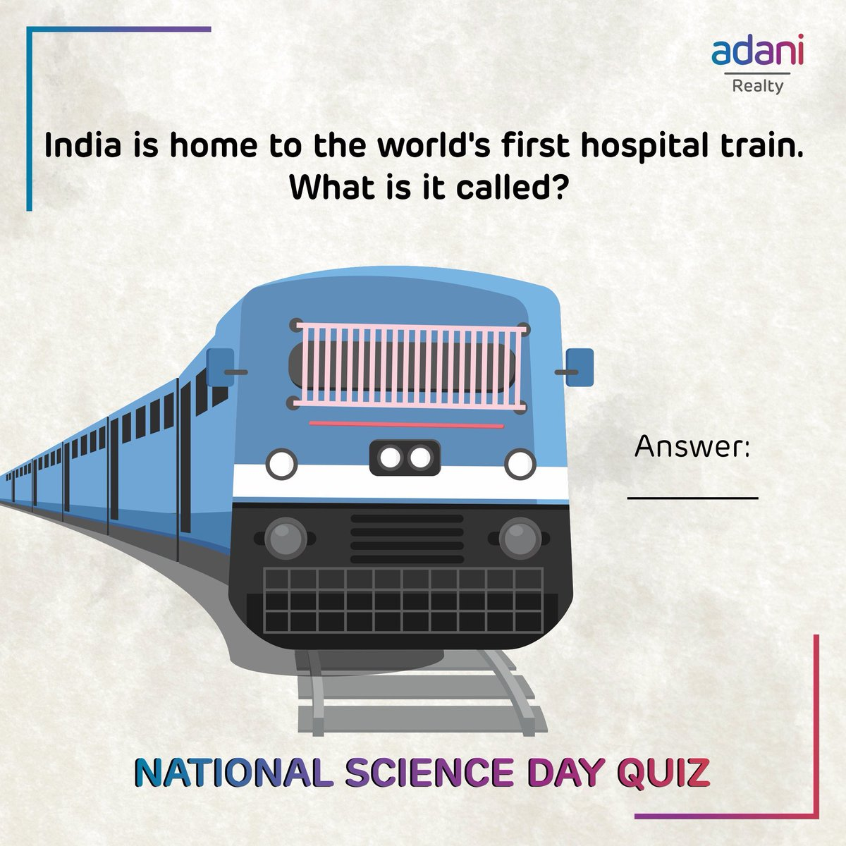 Participate in the National Science Day Quiz and stand a chance to win amazing gifts!* Follow @adanirealty and comment the answer below!   Hint: It has been donated by the Indian Railways and is managed by the NGO – Impact India Foundation.   #NationalScienceDay *T&C Apply