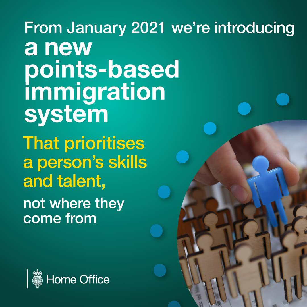 The UK's immigration system is changing. From 1 January 2021, we're introducing a new points-based immigration system, focusing on skills and talent, not nationality. Sign up to our mailing list to stay informed http://bit.ly/2uPA5Vr