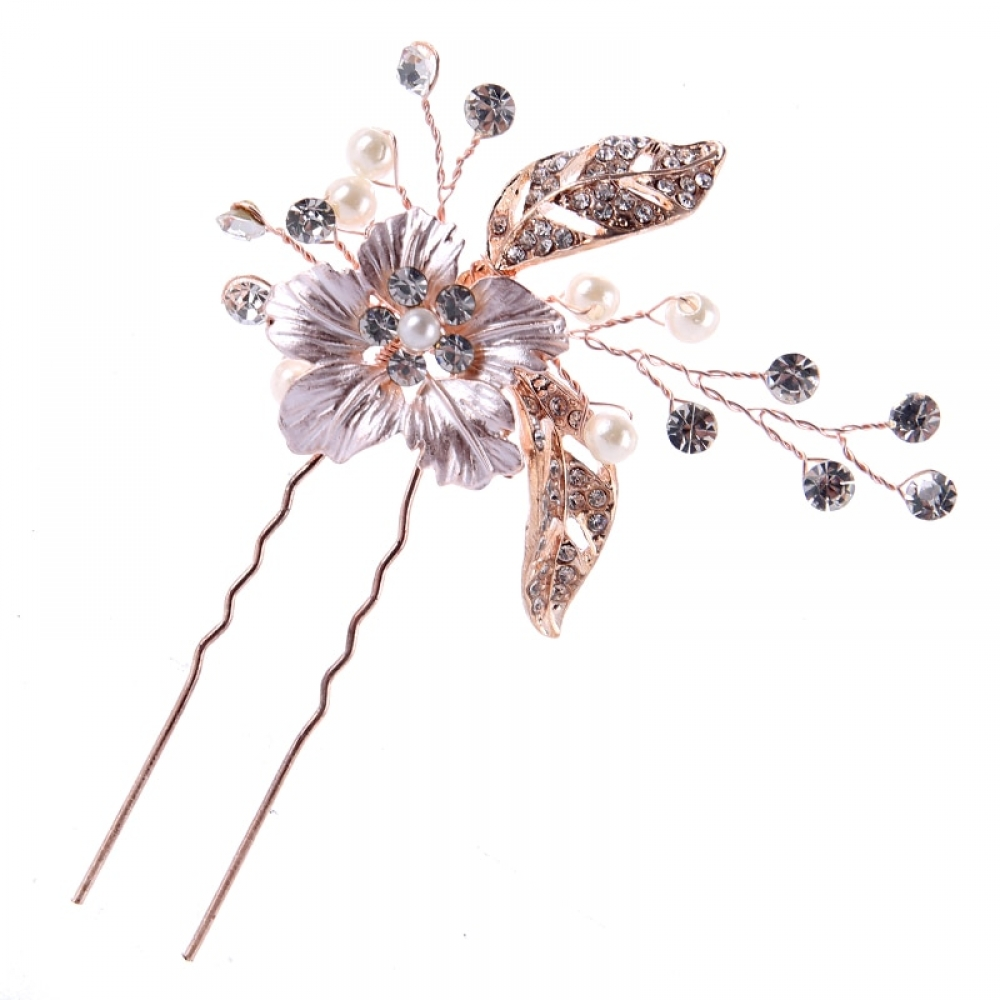 #makeup #bestoftheday Floral Rose Gold Hair Pin with Pearls