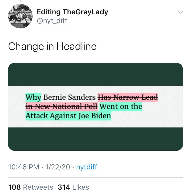 the higher ups at the new york times will not tolerate a positive Bernie headline