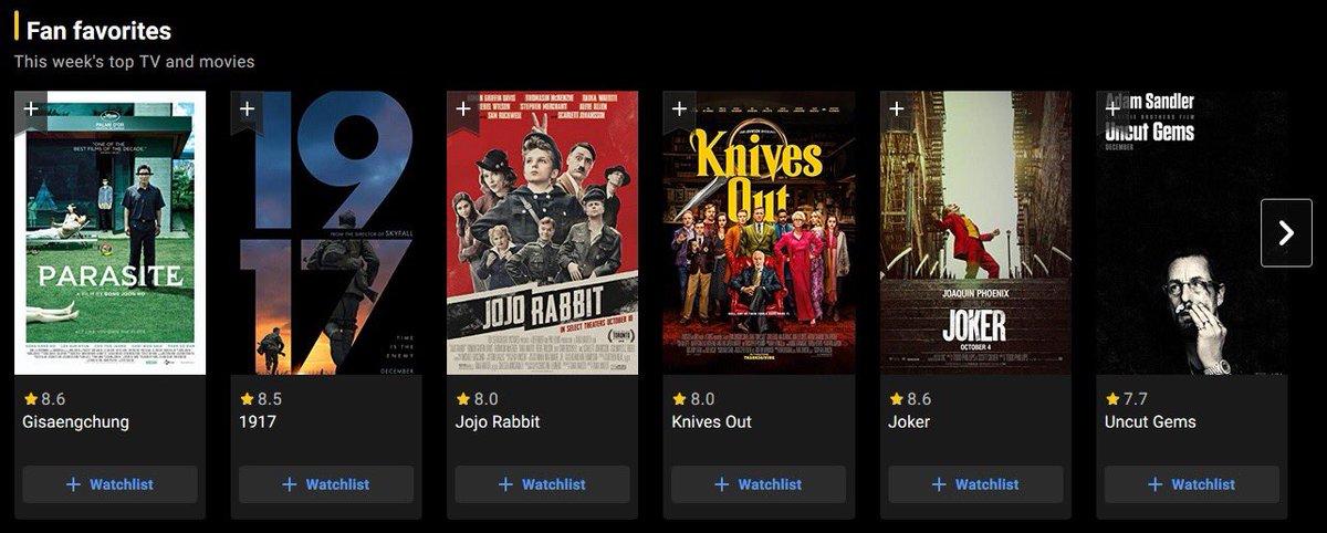التقيمات الـ 12 الاعلى فى هذا الاسبوع على IMDb #Cenima #Oscars2020 pic.twitter.com/J4zOhsfnqh