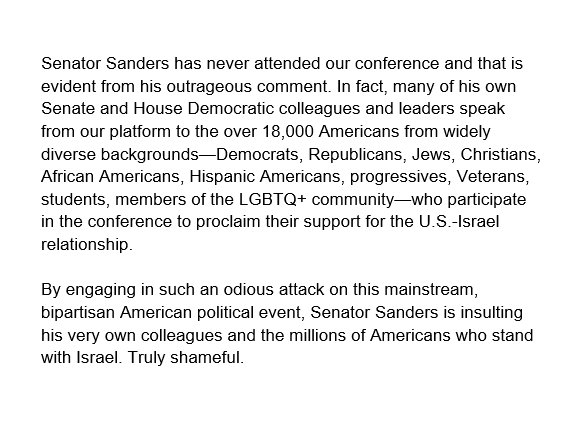 Senator Sanders has never attended our conference and that is evident from his outrageous comment.   Full statement:  https://twitter.com/BernieSanders/status/1231709010430189570  …
