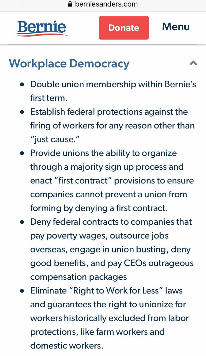 Bernie plans to double union membership within his first term as president. Have you endorsed him yet? Read his Workplace Democracy plan.   #UnionMembersForBernie #UnionsForAll #Unions #SEIU #BernieBeatsTrump #BernieWon https://berniesanders.com/issues/workplace-democracy/…