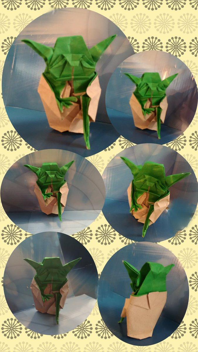 Yoda de Fumiaki Kawahata  Papel Bond con papel de seda Cuadrado de 24.5 cm. Tamaño de figura ya doblada  9.5 cm aprox. Doblado por mi..pic.twitter.com/I0yGc7kjzX