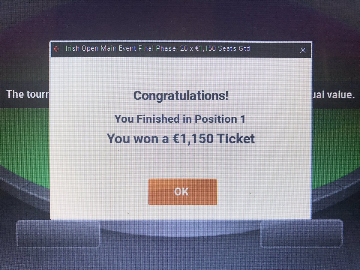 Boom! Just won a seat in the €109 satt to the €1,150 Irish Open Main Event €1M GTD. 270 players. 21 seats. In for the min to win the max! Standard lol Looking forward to the great craic in Dublin! Booyah! @Irish_PokerOpen  #IrishOpen  #SatelliteKing  #LikeaBosspic.twitter.com/HNzZrrfCai