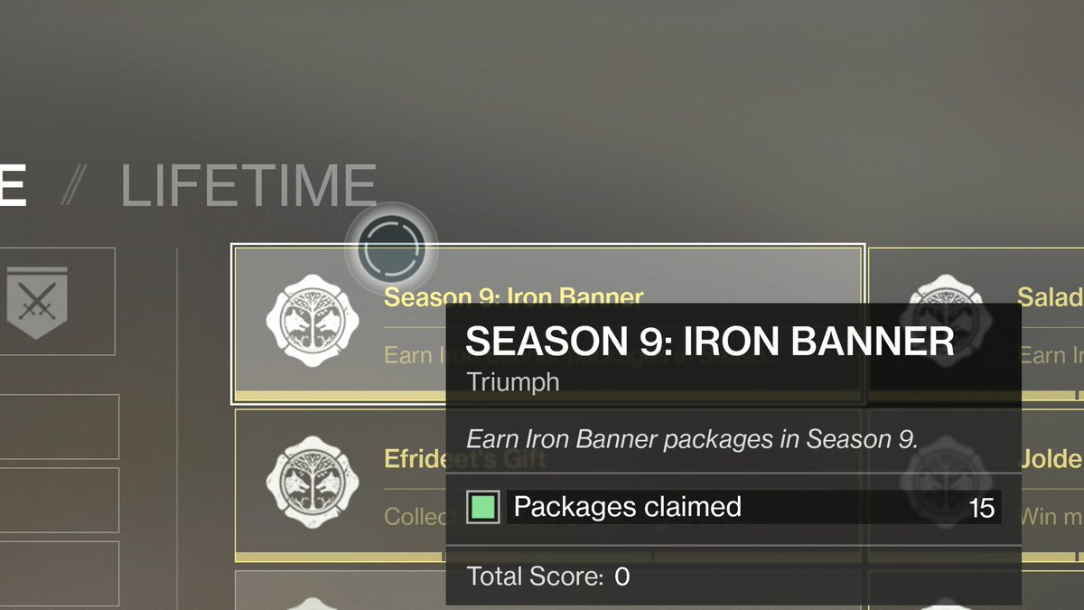 If you managed to get through the season 9 quest grind, don't forget to buy your IB packages for that 0 point triumph. It's the last S9 IB #IronBanner #Destiny2 #XboxSharepic.twitter.com/zbnFONCtRC