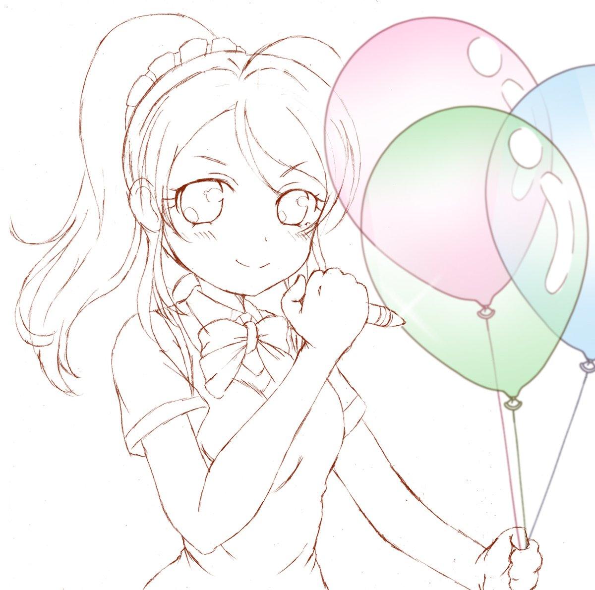 【お題箱より】 #odaibako_kazenofunet https://t.co/X7Rg1tMcZb ラブライブの絵里ちゃんがボールペンで風船の焦らし割りをするイラストをお願いします。 https://t.co/AY7C5mIXQf