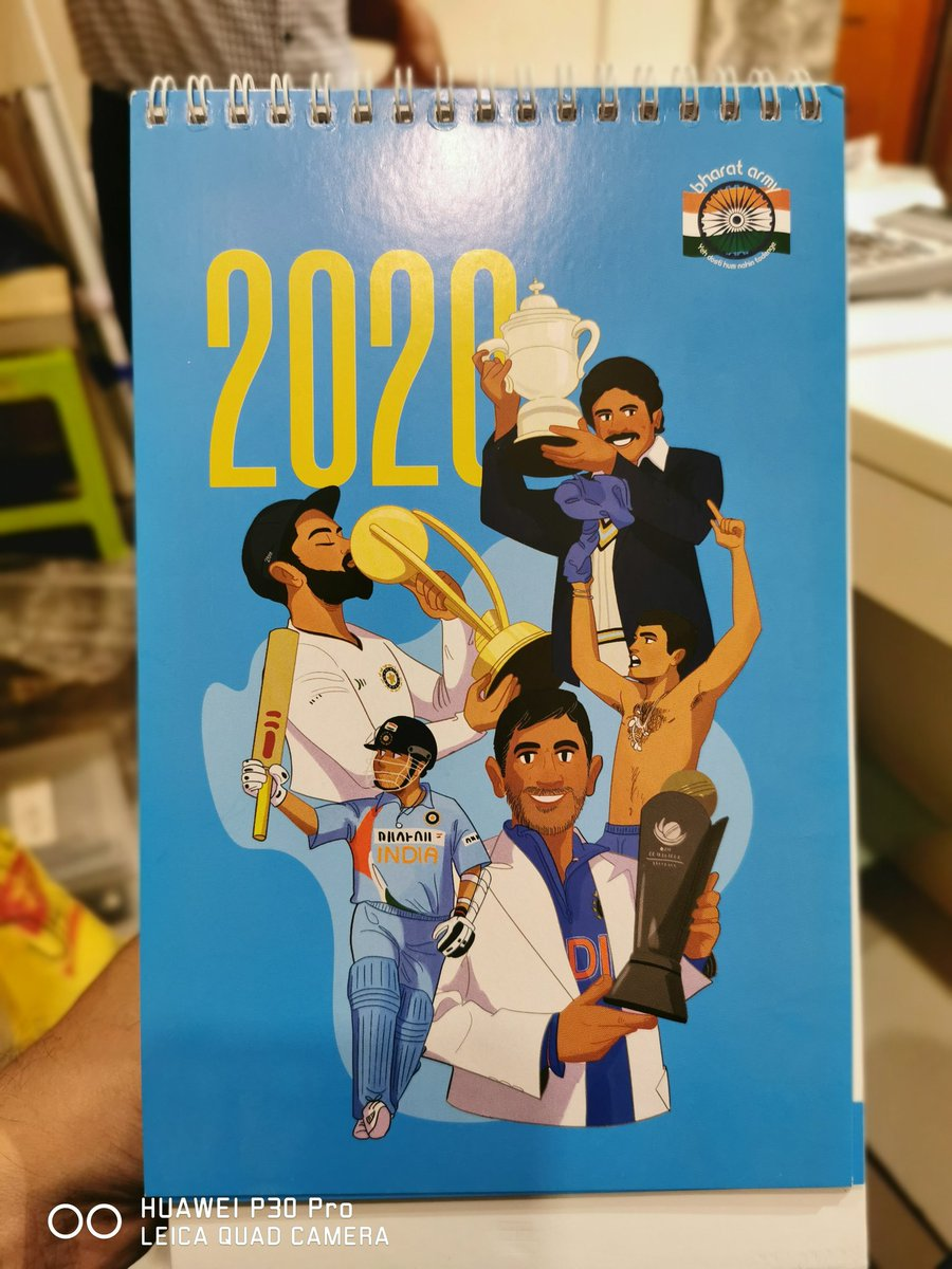 Thanks a lot @thebharatarmy for a superb calender. After having a rocking time during the CWC19 with you, looking forward to be with you guys in Oz for the @T20WorldCup too. Let the Dhol's rumble <br>http://pic.twitter.com/i4MKD3orFu