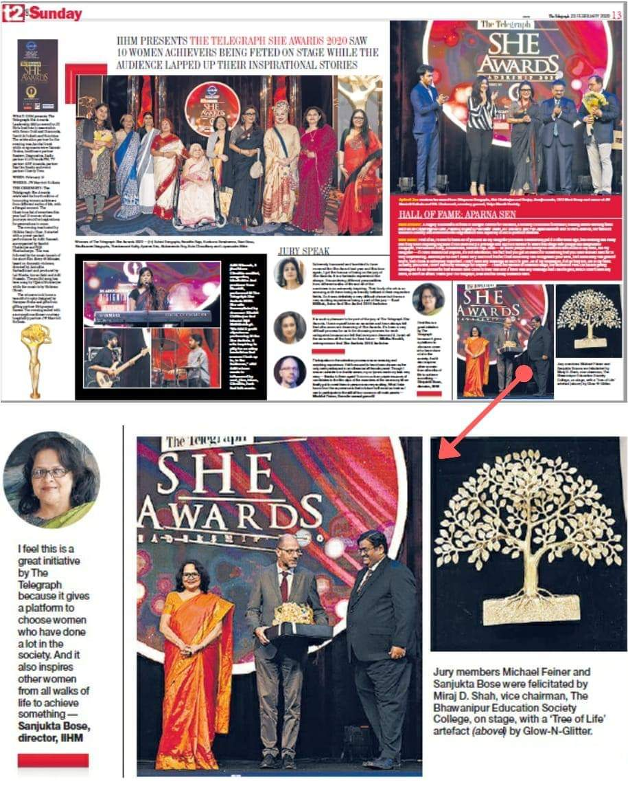 #TTSheAwards    An evening dedicated to the women recognised for their contribution to society and several walks of life.   The Telegraph in association with IIHM  sees the power of 'she' as each of the super champs is recognised for their contributions in different walks of life.