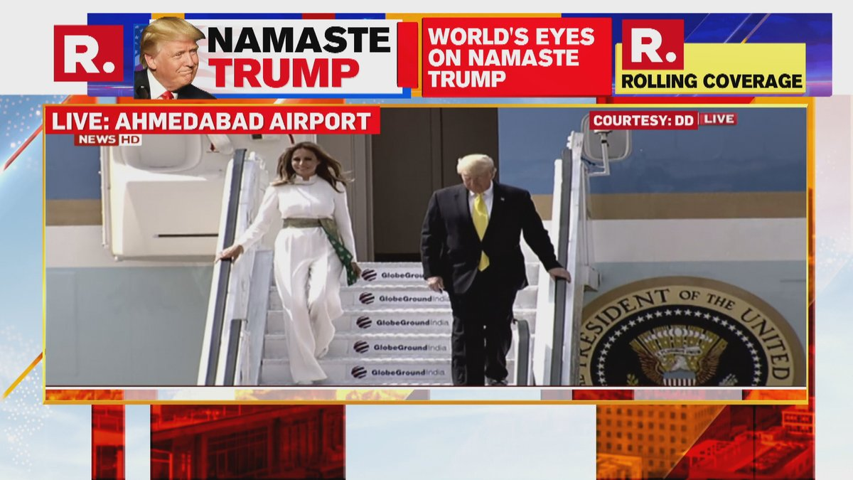 #LIVE on #NamasteTrump | US President Donald Trump and First Lady Melania Trump deplane from Air Force One at Ahmedabad airport; greeted by PM Modi; Tune in to watch here - https://www.republicworld.com/livetv.html