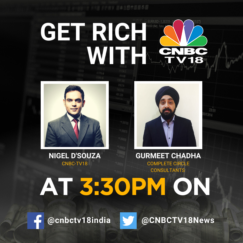 #GetRichWithCNBCTV18 | Get all your stock-specific queries answered by Gurmeet Chadha (@connectgurmeet) of @Compcircle as he joins @Nigel__DSouza at 3:30 pm #Live