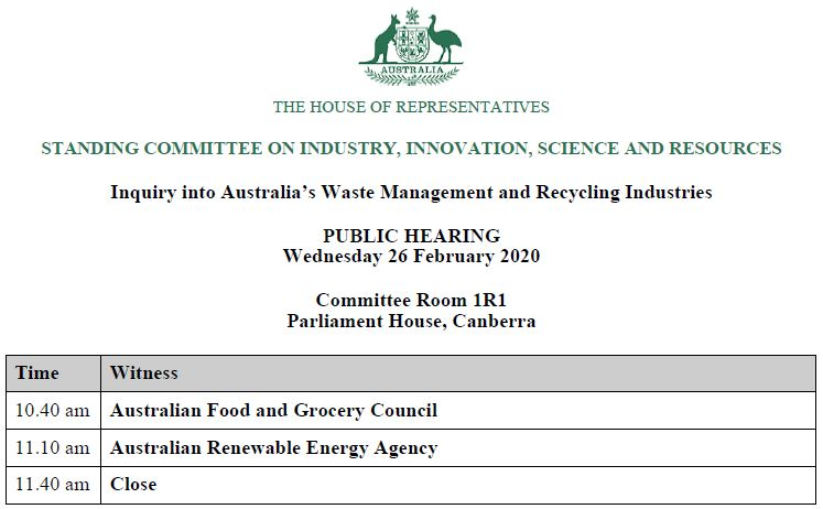 The Parliamentary inquiry into Australia's Waste Management and #Recycling Industries will hear from @AusFoodGrocery, Canberra 10:40am https://www.aph.gov.au/Parliamentary_Business/Committees/House/Industry_Innovation_Science_and_Resources/WasteandRecycling… #auspolpic.twitter.com/ulUpaHYQDn