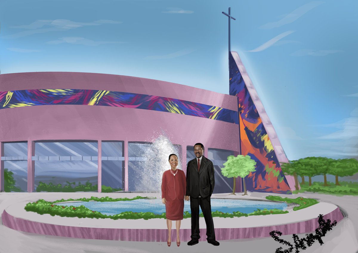 A painting of Presiding Bishop C.E. Blake and Lady Mae L. Blake. West Angeles Cathedral COGIC!