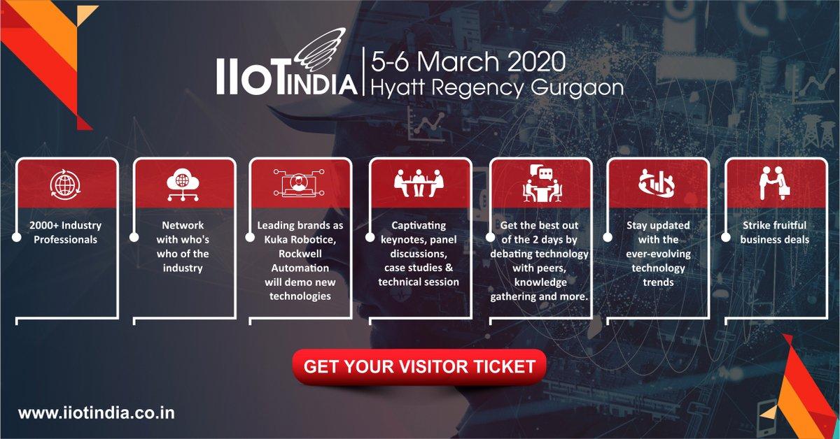 Get the Visitor ticket for IIoT India. 5-6 March 2020 at Hyatt Regency, Gurgaon @IIoTIndia @XelerateIndia #IoTCommunity #IoT #IIoT #CECoE #IoTSlam #InternetofThings #AI #edgecomputing #iottechnologies #iotinnovation #digitaltransformation #iotworld #innovativeideas pic.twitter.com/AjxGKu6dmz