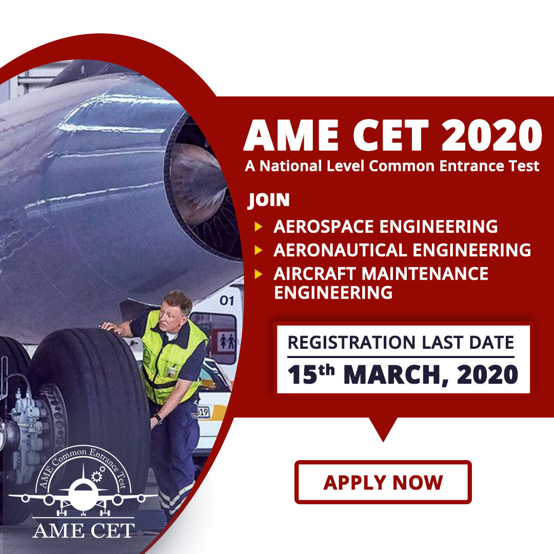 Join AME CET 2020 to build your dream in the field of Aerospace Engineering, Aircraft Maintenance Engineering (AME), and Aeronautical Engineering courses. For any query call 8800663006 or visit http://www.amecet.in  #AMECET #aerospaceengineering #ame #aeronauticalengineeringpic.twitter.com/HTG0IXkmKe