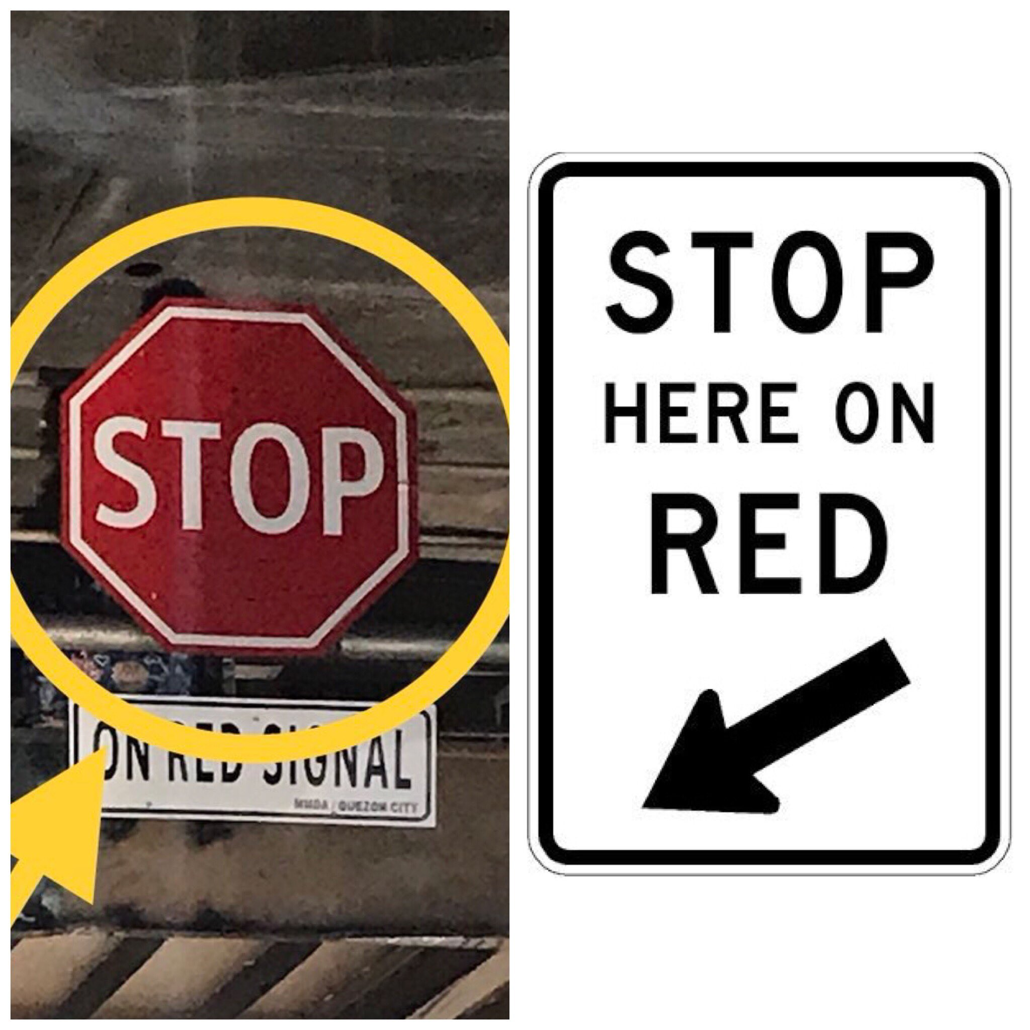 Right Of Way Ph On Twitter The Existence Of A Stop Sign At A Signalized Intersection Causes Confusion If The Intent Is To Show Where To Stop During A Red Light You