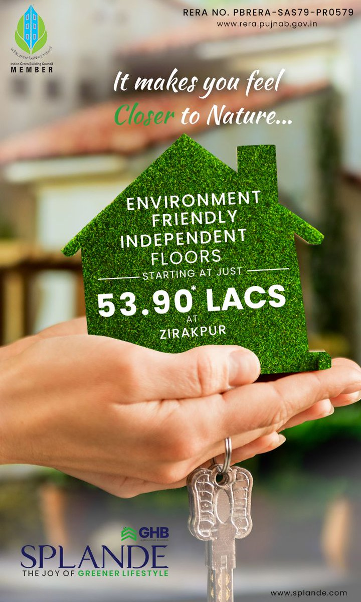 3 & 4 BHK Environment-Friendly Independent Floors Starting at just 53.90* Lacs near International Airport, Zirakpur. RERA approved the project.  #ecofriendly #sustainable #nature #green #natural #lushgreen #joy #greener #lifestyle #3bhk #4bhk #zirkpur #GHB #Splande