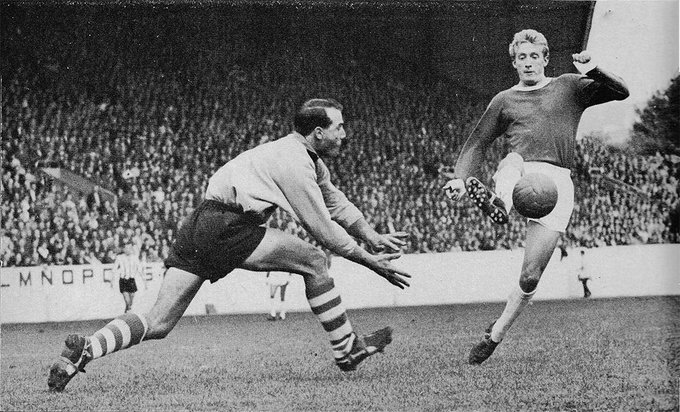 Happy 80th Birthday to Denis Law, seen here at Hillsborough with Ron Springett of in 1962.