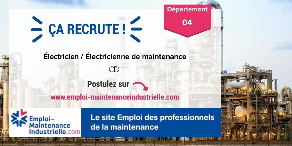Électricien / Électricienne de maintenance (CDI)  à ENTRAGES (04 Alpes-de-Haute-Provence). Expérience : 1-3 ans. #emploi #technicien #maintenance Postulez ! https://www.emploi-maintenanceindustrielle.com/offre-emploi/16213/CDI-Électricien---Électricienne-de-maintenance-Autres-ENTRAGES…
