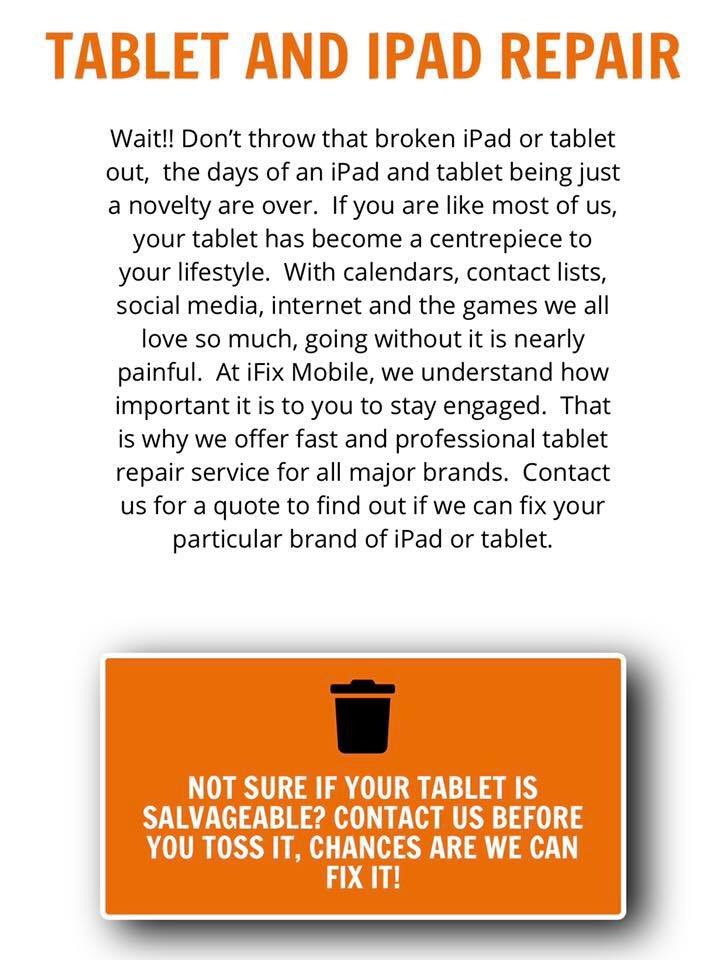 Have a damaged tablet? Come visit us in store and we can help you with your tablet repair needs.  http://ifix-mobile.com  #repairiphone #phoneunlocking #mobilerepair #phonerepair #tabletrepair #brokenscreen #brokenphone #brokentablet #orillia #lindsayontario #Peterboroughpic.twitter.com/CXUsfgwiQa
