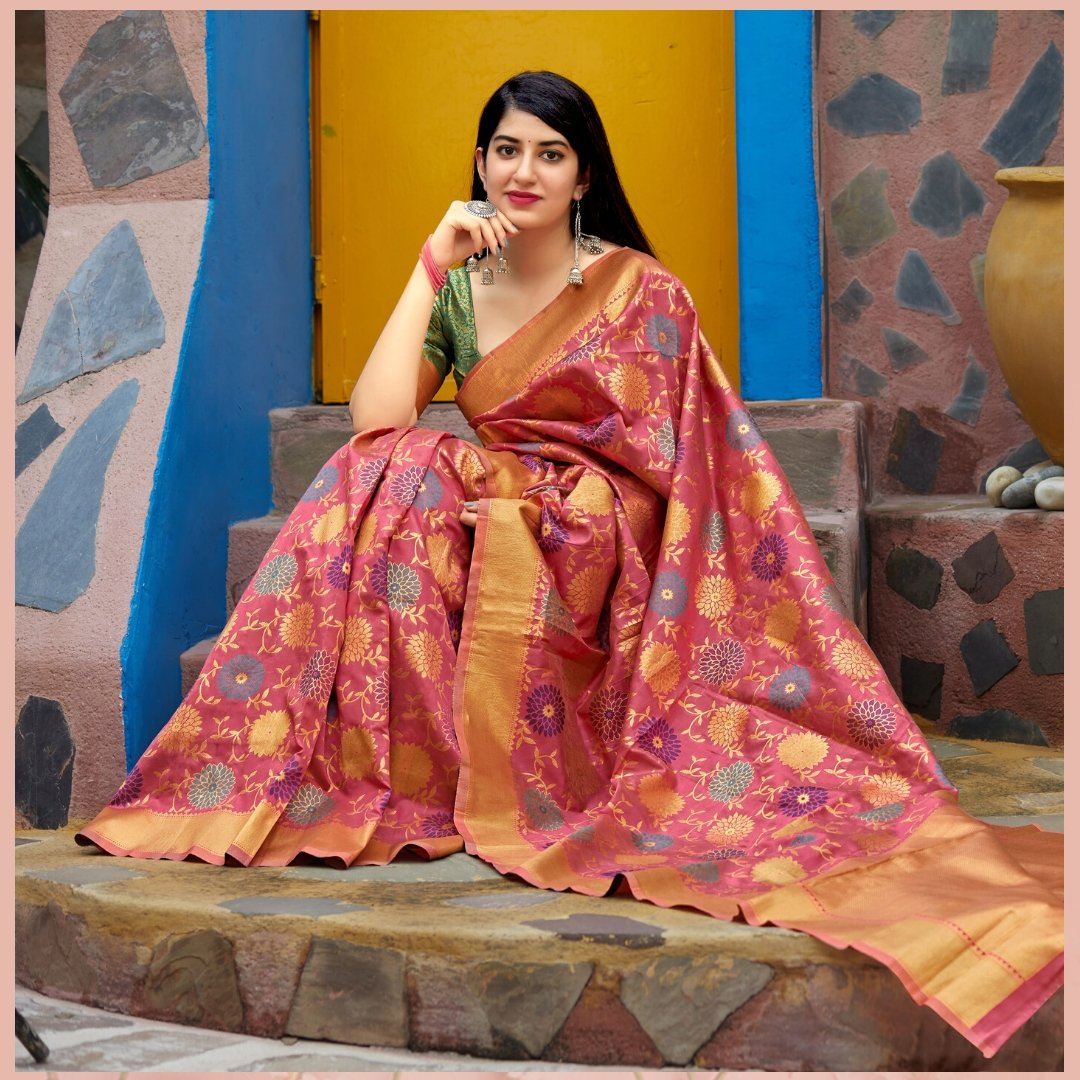 Shop this beautiful Pink Banarasi silk Saree decorated with gorgeous print and pattern. Shop now from @mirraw  and get up to 80% off. Product ID - 3146976 Product details & price - http://bit.ly/32pFmzn . . #ClassicSale #RelivIndia #Trendy #Saree #Mirrawstyle #Mirrawpic.twitter.com/dYXvKERW3k