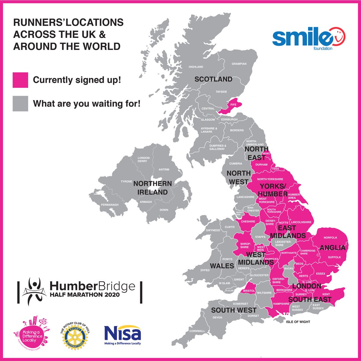 This weeks updated map! Welcome to our #Bristol & #NorthLondon runners who are joining us! We've also had lots of other local runners sign up....welcome to you too! @MADLcharity #HHM #HumberHalfpic.twitter.com/XZRHSnyZig