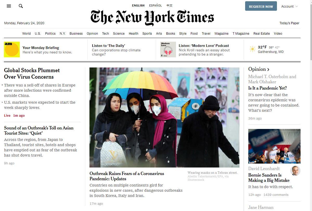 Coronavirus currently dominating the NY Times website.