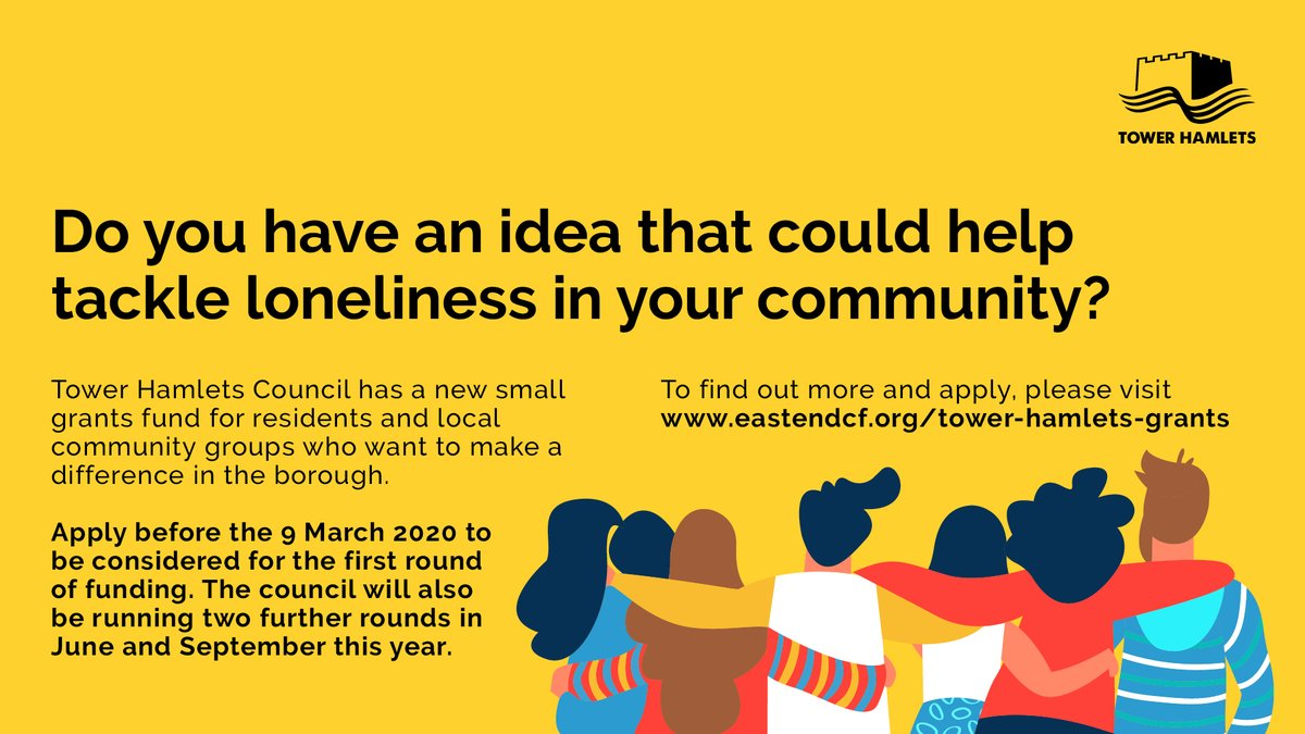 Loneliness Funding Opp for residents & local community groups who want to tackle loneliness! 1st round ends 9 March.  http://orlo.uk/Fkyky Workshop on small grants takes place on 26 Feb, Jack Dash House, reg here https://bit.ly/32iLTvC  @EastEnd_CF@TowerHamletsNowpic.twitter.com/H5ndKyJmdP