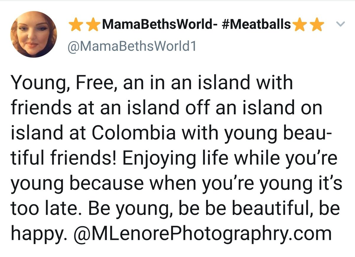 """Exactly how high do you have to be to understand what she is trying to say here? """"In an island, at an island off an island on island at Columbia"""" """"Enjoy life when your young because when your young it's too late"""" #WordsofWisdom<br>http://pic.twitter.com/q9bnK1vWhJ"""