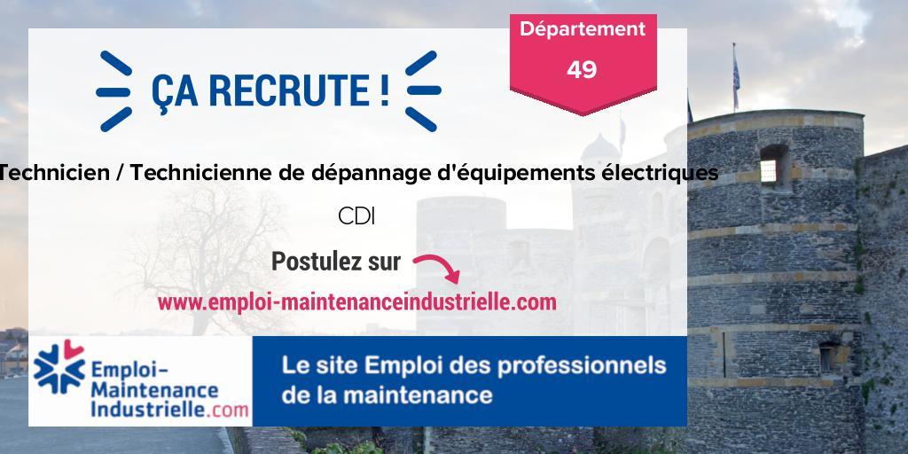 Technicien / Technicienne de dépannage d'équipements électriques (CDI)  à ANGERS (49 Maine-et-Loire). Expérience : 1-3 ans. #emploi #technicien #maintenance Postulez ! https://www.emploi-maintenanceindustrielle.com/offre-emploi/16214/CDI-Technicien---Technicienne-de-dépannage-d'équipements-électriques-Autres-ANGERS…