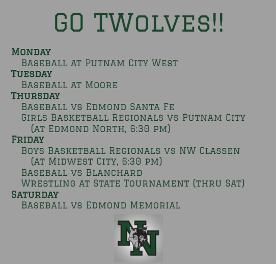 A LOT of baseball this week. Regional basketball begins Thursday. And wrestling goes to State.  Support your teammates and classmates. Give them words of support or even go watch the games! #GoTwolves pic.twitter.com/LwQ587Cs4W
