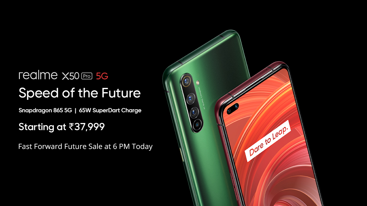 Proud to present India's 1st 5G smartphone, the #real5G #realmeX50Pro! ✅SDM 865 Processor ✅65W SuperDart Charge ✅90Hz Super AMOLED Display ✅32MP In-Display Dual Selfie And more starting at ₹37,999  Fast Forward Future Sale today at 6PM on http://realme.com  & Flipkart.