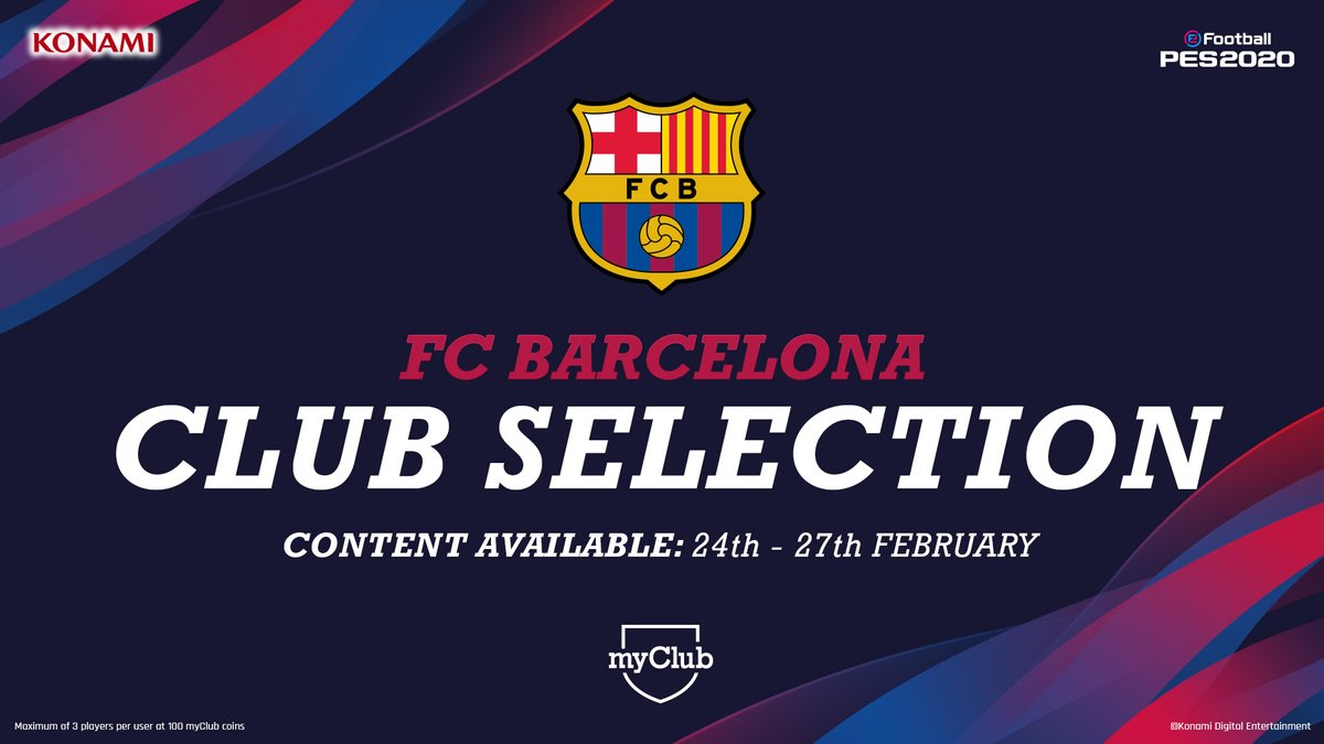 This week in #myClub:   FOUR club selections including FC Barcelona 🌟 Spanish League Stars 🇪🇸   #eFootballPES2020 #PlayingIsBelieving