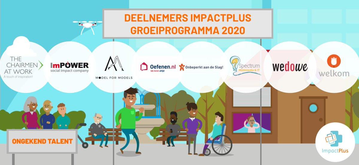 Deelnemers ImpactPlus 2020 bekend:  The Chairmen at Work, ImPower, @ModelforModels1, https://t.co/wMPN78rX96, @Onbeperktwerken, @BartSpectrum, WeDoWe, Welkom! Vanaf maart gaan we samen aan de slag met het vergroten van hun impact! #socialimpact #ongekendtalent #impactplus https://t.co/XRwQDqUHNX